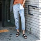 Distressed Lettering Baggy-fit Jeans