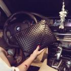 Faux-leather Woven Clutch Bag