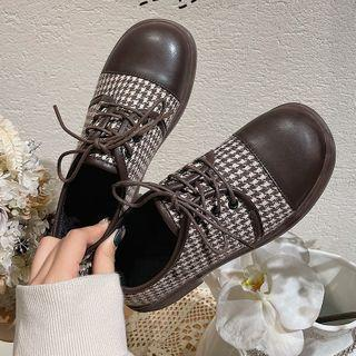 Houndstooth Lace Up Oxford Shoes