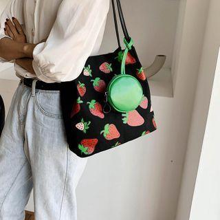 Fruit Print Canvas Shoulder Bag