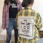 Lettering Applique Plaid Long Shirt