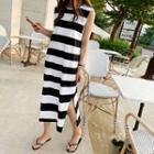 Striped Long Tank Dress Black - One Size