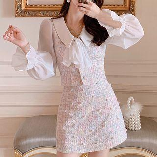 Mock Two-piece Long-sleeve Buttoned Top / Tweed A-line Mini Skirt