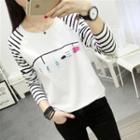 Long-sleeve Striped Printed T-shirt