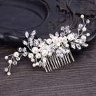 Wedding Faux Pearl Rhinestone Branches Hair Comb White - One Size