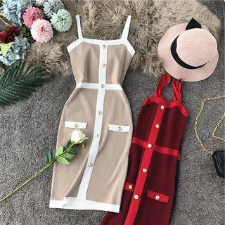 Contrast-trim Button-detail Sleeveless Dress