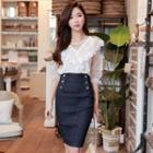 High-waist Denim Pencil Skirt Denim Blue - S
