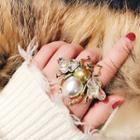 Rhinestone Bee Ring / Jeweled Ring / Set: Rhinestone Bee Ring + Jeweled Ring