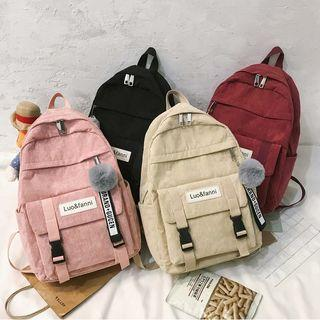 Pom Pom Buckled Backpack