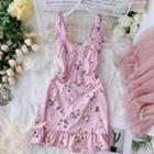 Sleeveless Floral Mini Sheath Dress Pink - One Size