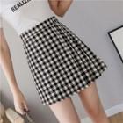 Checker A-line Mini Skirt