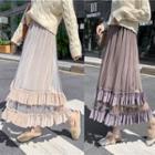 Glitter Mesh Panel Maxi A-line Skirt