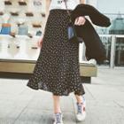 Leaf Print Midi Chiffon Skirt