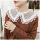 Lace-trim Collared Long-sleeve Mesh Top