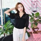 Elbow-sleeve Dotted Chiffon Top
