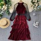 Mesh Panel Long-sleeve Midi Layered Dress