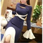 Long-sleeve Cut Out Sheath Party Dress