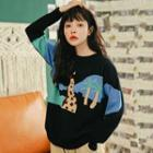 Giraffe Patterned Sweater Black - One Size