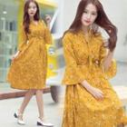 Bell Elbow-sleeve Floral Dress