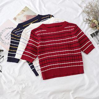 Short-sleeve Round Neck Knit Top