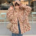 Leopard Print Hooded Zip Coat