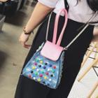 Studded Ripped Denim Handbag With Shoulder Strap
