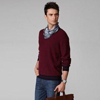 V-neck Contrast-trim Sweater