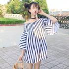 Bell-sleeve Off-shoulder Stripe Tunic