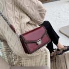 Faux Leather Chained Box Crossbody Bag