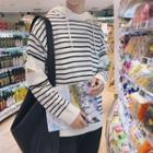 Long-sleeve Striped Hooded Knit Top