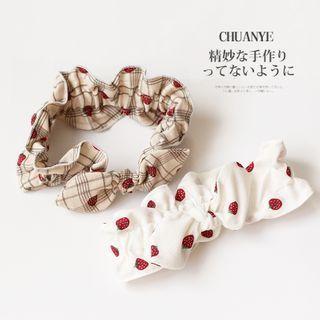 Strawberry Plaid Print Face Wash Headband
