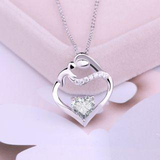 925 Sterling Silver Rhinestone Heart Pendant Necklace Pendant - White - One Size
