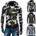 Camo Hooded Zip Cardigan