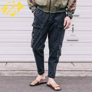Washed Slim-fit Cargo Jeans