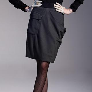 Asymmetric Draped Pencil Skirt