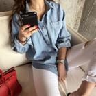 Pocket-front Slit-side Denim Shirt