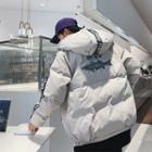 Shark Print Lettering Hooded Zip Jacket