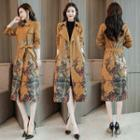 Floral Print Open Front Trench Coat With Sash
