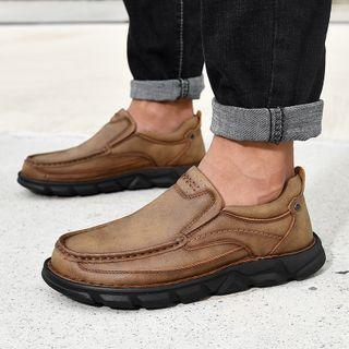Faux-leather Stitched Casual Shoes