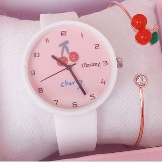 Cherry Print Strap Watch