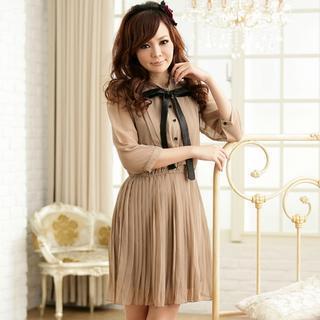 3/4-sleeve Pleated Dress