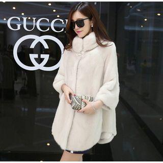 3/4 Sleeve Faux Fur Coat