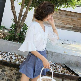 Set: Bell-sleeve Button-up Top + Mini A-line Skirt