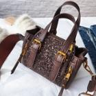 Faux-leather Buckled Glitter Tote