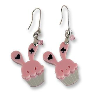 Sweet Pink Bunny Cupcake Of Heart Swarovski Crystal Dangle Earrings