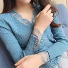 Lace Trim Rib Knit Top