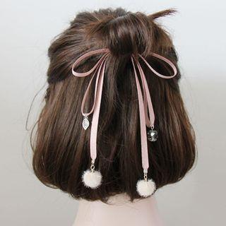 Ribbon & Pompom Hair Elastic