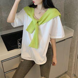 Elbow-sleeve T-shirt / Shawl