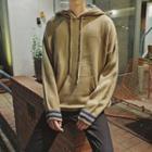 Contrast-stripe Hooded Knit Top