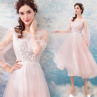 Long-sleeve Mesh Midi Bridesmaid Dress